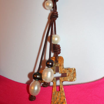 Leather Cord Freshwater Pearl Golden Hammered Cross Lariat / Pendant Necklace BOHO Beach Chic