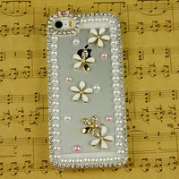 cute fashion clear iphone 5s case flower iphone 4 case floral iphone 5c case women gift ideas rhinestone iphone 4s cover 5c iphone 5s cover