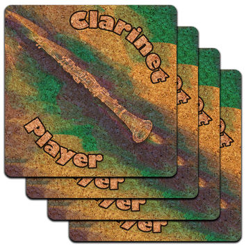 Clarinet Player Band Instrument Woodwind Low Profile Cork Coaster Set