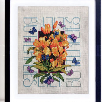 Completed cross stitch, butterflies and flower decor, large contemporary design, bright colorful hand stitched art, finished, ready to frame