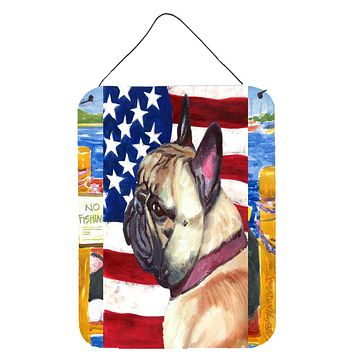 French Bulldog Frenchie USA Patriotic American Flag Wall or Door Hanging Prints LH9545DS1216
