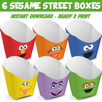 6 Popcorn Box Sesame Street - Ready to print - Instant Download
