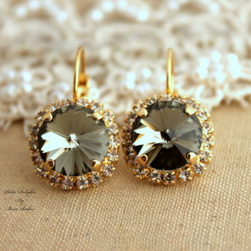 Black Diamond Gray Rhinestone leverback earring Swarovski Crystal Bridal earrings - 14k Gold plated earrings real swarovski rhinestones.
