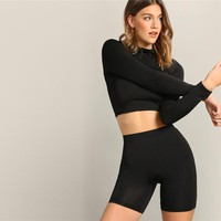 Black Mock-neck Crop Fitted Top And Leggings Shorts Set Women Long Sleeve Stand Collar Casual Twopiece