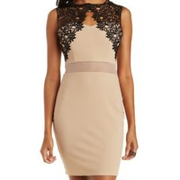Nude Combo Lace and Mesh Bodycon Dress by Charlotte Russe