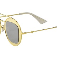 Gucci Women's GG0105S GG/0105/S 003 Gold Round Fashion Sunglasses 47mm
