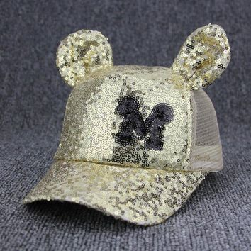 Trendy Winter Jacket 2018 Summer Net Yarn Children Snapback M Mickey Sequined Net Hat Big Ears Hip Hop Hat Mesh Baseball Cap Nice Hip-hop Cap AT_92_12