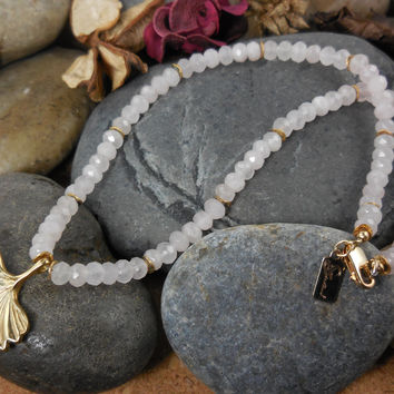 Gold-Filled Rose Quartz Gemstone Ginkgo Leaf Necklace