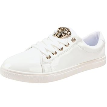 Versace Trending Women Men Casual Low Help Flat Running Sports Shoes Sneakers White-1