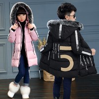2017New Kids Long Parkas For Girls Fur Hooded Coat Winter Warm Down Jacket Children Outerwear Infants Thick Overcoat 4 6 9 10 12