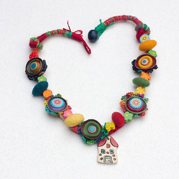 Mixed media colorful necklace, crochet fiber jewelry with leather, felt and wooden beads and ceramic house pendant, OOAK