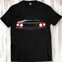 1969 Ford Mustang Boss 302 T Shirt Tees Men Gift Idea Present Headlights Glow Black Garment Apparel T-Shirt