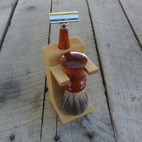Shaving Set:  Bloodwood Safety Razor and Brush with Maple Stand