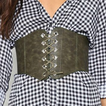 Happy Together Vegan Leather Corset Belt
