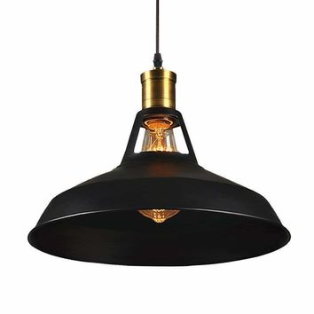 Vintage Style Pendant Lamp with Black Shade