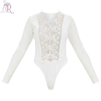 Black and White Sexy Lace Bodysuit Thong Women Plunge Lace up Lattice Tied Front Long Sleeve Deep V Neck Silm Skinny Club Wear