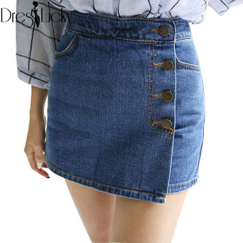 Korean fashion denim shorts skirts sexy high waist shorts 2016 summer casual jeans for women loose hot buttons short femme sale
