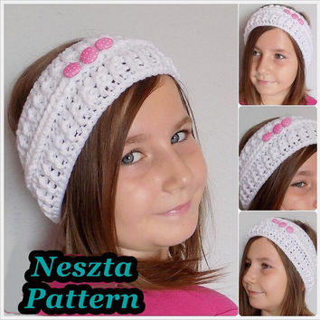 Crochet pattern, crochet headband pattern, Ear Warmer, toddler, child, teen, adult sizes