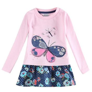 Embrioidery beautiful butterfly nova brand baby toddler little girl clothing for girls kids clothes long sleeve cotton dress