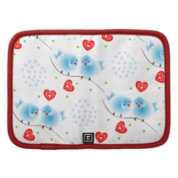 Cute Whimsical Fluffy Blue Love Birds Red Hearts Folio Planner