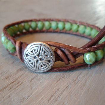Celtic Pride distressed brown leather & czech glass by slashKnots