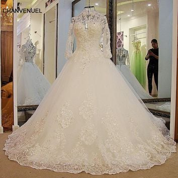 LS14812 Long Sleeve Lace Wedding Dress Ball Gown Lace up Back Floor Length Tulle Sequins High Neck Wedding Gown for bridal