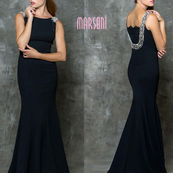 MARSONI M177 High Neckline Jeweled Straps Prom Evening Dress