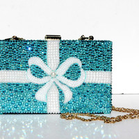 Swarovski Crystal Clutch in Tiffany Aqua Blue