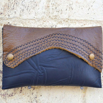 Embroidered Leather Clutch - Visone Leather Clutch - OOAK Black Leather Clutch - Steampunk