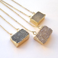 Geometric Druzy Necklace Druzy Connector Pendant Necklace Gold Edged Druzy Drusy Jewelry Natural Color Stone Necklace Gold Dipped Layering