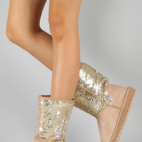 Soda Bling-S Sequin Round Toe Flat Boot