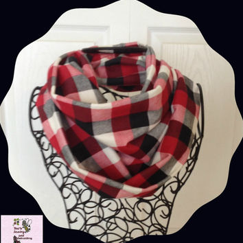Black Red Cream Plaid  Infinity Scarf  Adult Size