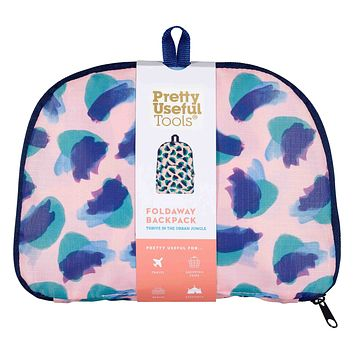 Foldaway Backpack in Tropical Camo Coral