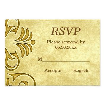 Wedding RSVP Card | Antique Golden Flourish