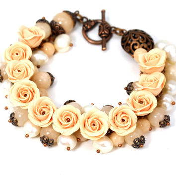 "Jewelry Set - Bracelet and Earrings ""Apricot"" Roses Polymer Clay Neutral Colora Feminine Jewelry Floral Bracelet"