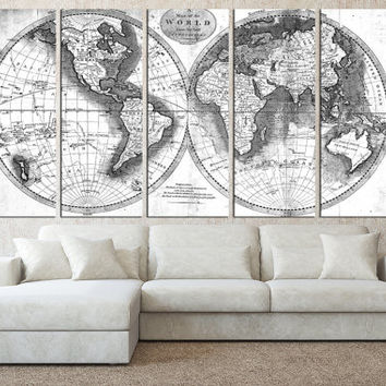 Best white world map wall art products on wanelo world map wall art canvas print old vintage world map wall art rustic map gumiabroncs