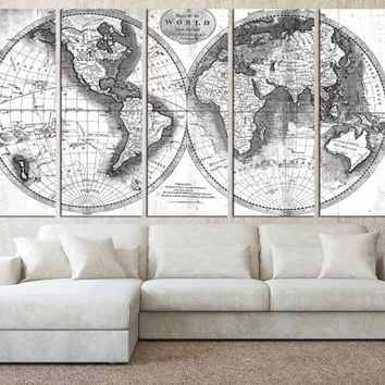 Large abstract painting canvas large from artcanvasshop on etsy world map wall art canvas print old vintage world map wall art rustic map gumiabroncs