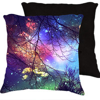 "Nature pillow,18x18 or 22x22 pillow ""Look to the stars"" trees at night,stars,sky,colorful pillow,whimsical home decor,blue,aqua,turquoise"