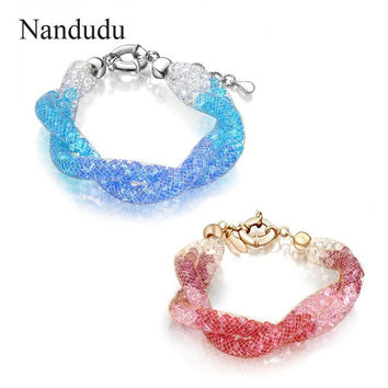 Nandudu Fashion Mesh Jewelry Wire Net Crystals Bracelet Deluxe Pink Blue Red Gold Plated Bangle Female Jewelry Gift B434 B447
