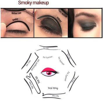 Makeup 6 in 1 Eyeliner Stencil Kit Model for Eyebrows Cat Fish Tail Double Wing Stencils Template Fard a Paupiere Card Eye