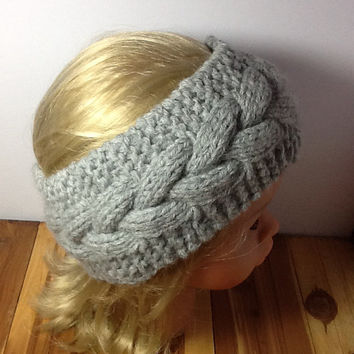 Chunky Cable Knit Headband, grey acrylic/wool blend,  soft, warm, neutral color head wrap, fleece lined option