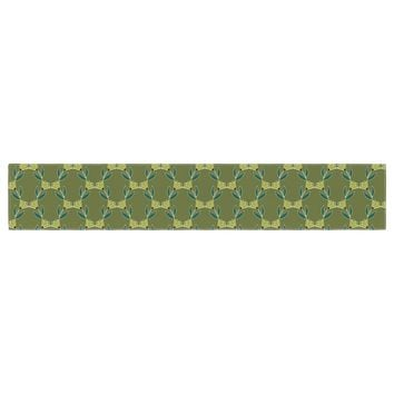 "Holly Helgeson ""Flora Vine"" Olive Green Table Runner - Outlet Item"