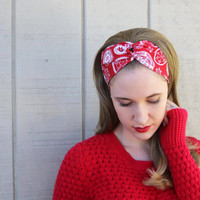 Red Reindeer Vintage Headband: Retro Christmas Print, Holiday Snowflake Faux Head Wrap for Adults, 100% Cotton Fabric