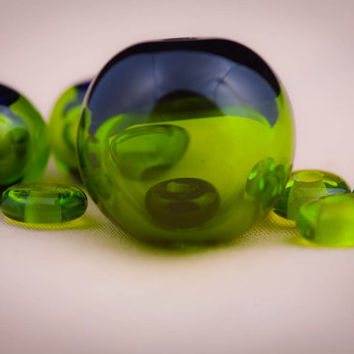 Hollow Lampwork Glass Bead Within a Bead Set