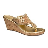Marbella Wedge Sandal in Cork and Gold by Jack Rogers - FINAL SALE