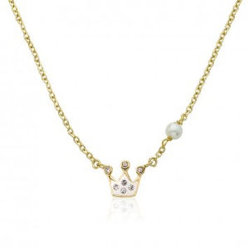 Pretty Princess White Crystal Crown Chain Necklace.
