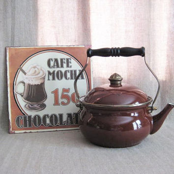 Vintage Brown Enamel Teapot / Brown Tea Kettle with Brass Trim and Wood Handle / Beautiful Brown Teapot