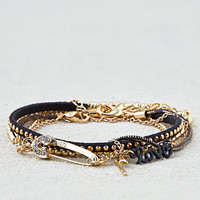 AEO Black & Gold Arm Party Bracelets, Gold