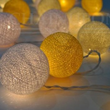 DAISY WHITE YELLOW COTTON BALL STRING LIGHTS ,DECOR,HAPPY,HOME,BEDROOM,WEDDING