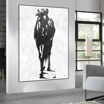 extra large abstract horse Painting on canvas, black and white handmade original Painting, Abstract art, Abstract painting Canvas painting,
